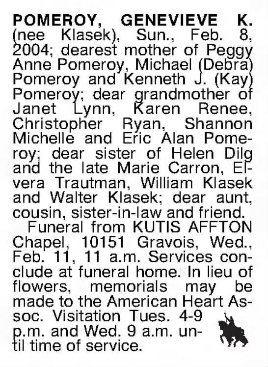 Obituary for Genevieve (Klasek) Pomeroy -