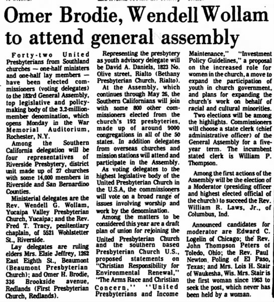 OH Brodie Gen Assmbly, Daily Facts, 15 May 1971, p. 2 -