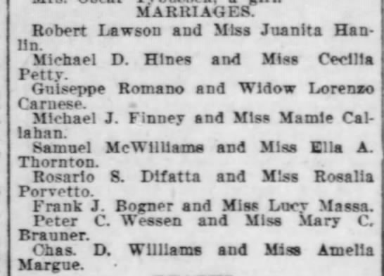Times-Democrat Marriage Rosario S. Difatta & Rosalia Porvetto 18 Apr 1903 -