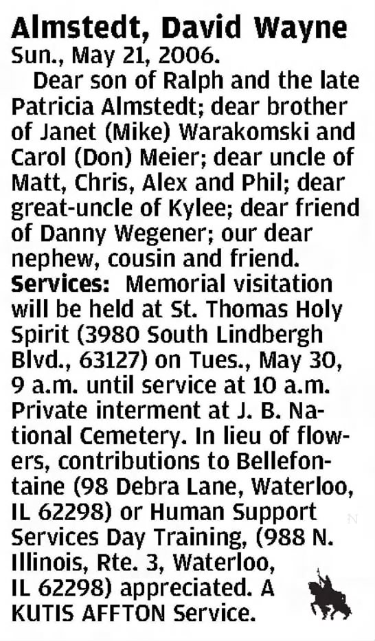 OBIT - Almstedt, David Wayne - Clipped from St. Louis Post-Dispatch, 29 May 2006, Mon, Main Edition -