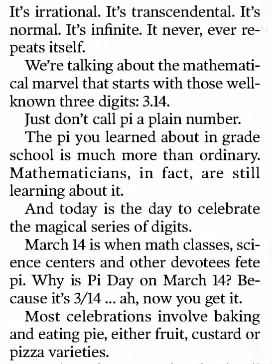 March 14 is Pi Day -