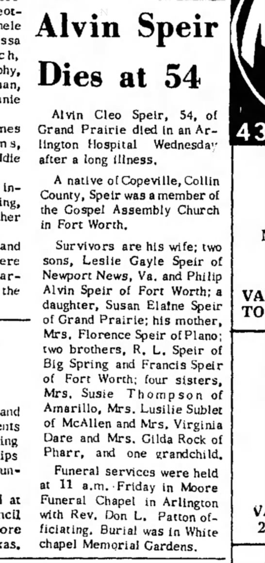 Buddy's Obit - Alvin Speir Dies at 54 Alvin Cleo Speir, 54, of...