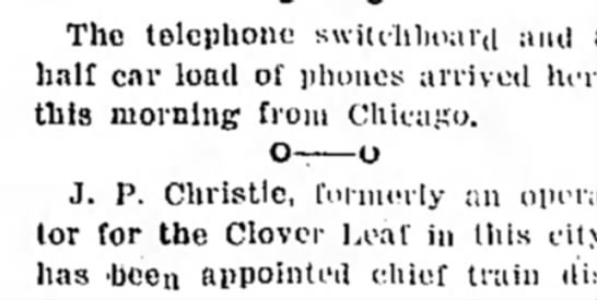switchboard and phones arrive 1896 -