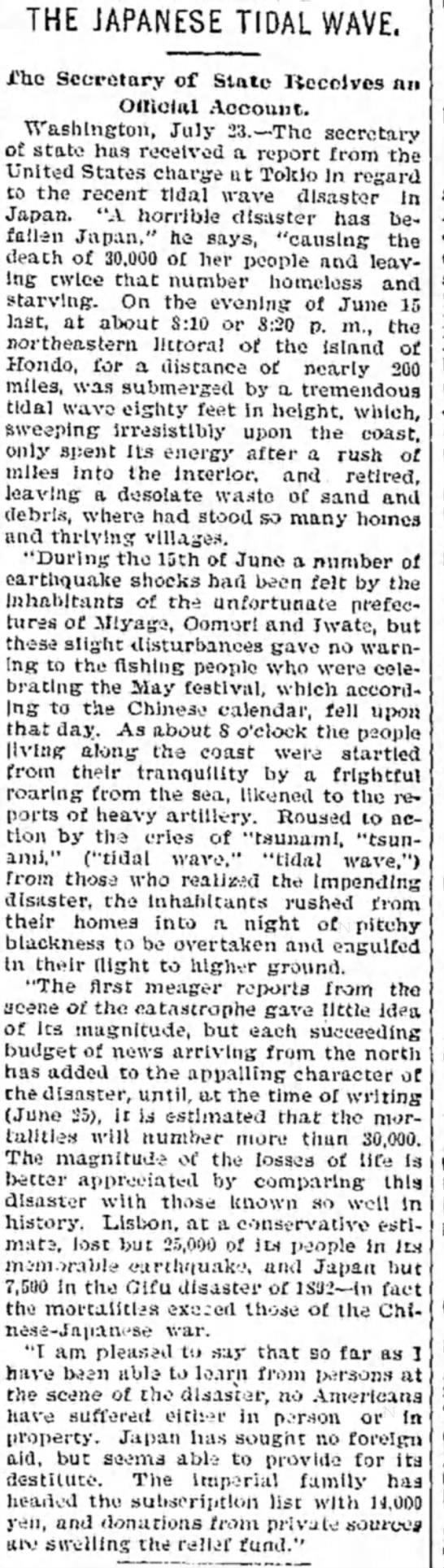 1896 Japan Tsunami article. - TMalmay - THE JAPANESETlDAL WAVE. i'he Secretary of State...