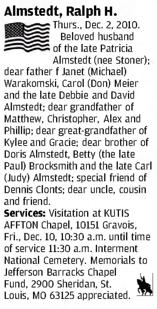 OBIT - Almstedt, Ralph H - Clipped from St. Louis Post-Dispatch, 5 Dec 2010, Sun, Other Editions -