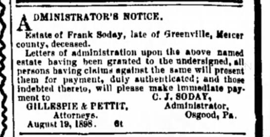 Frank Soday Estate Notice Sept 1898 - A DMINlSTRATOR'B NOTICE. Kstateof Frank Soday,...