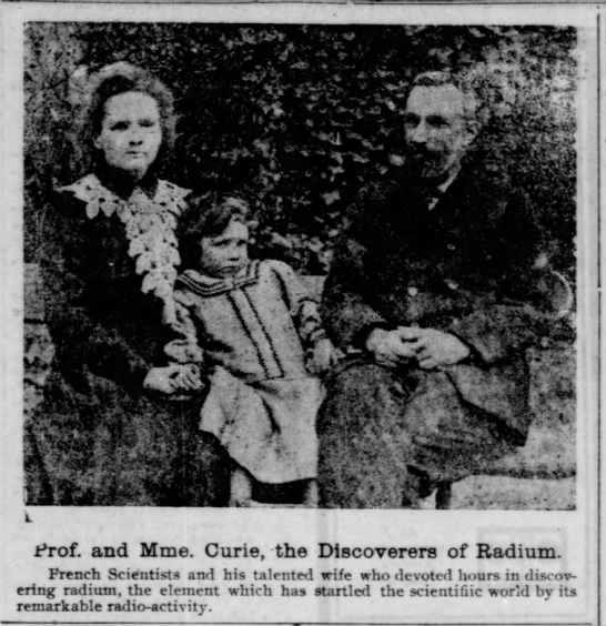 Family photo of Marie Curie, husband Pierre, and daughter Irene -