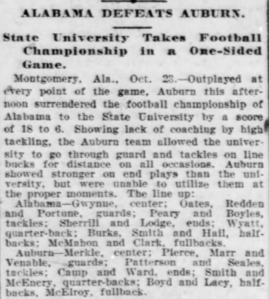 """Alabama defeats Auburn,"" The Times-Democrat, October 24, 1903, p.10 -"