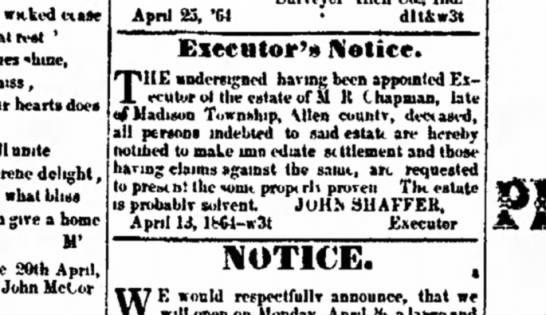 M R Chapman estate of Madison township, Allen County - Executoer's notice - 1864 -