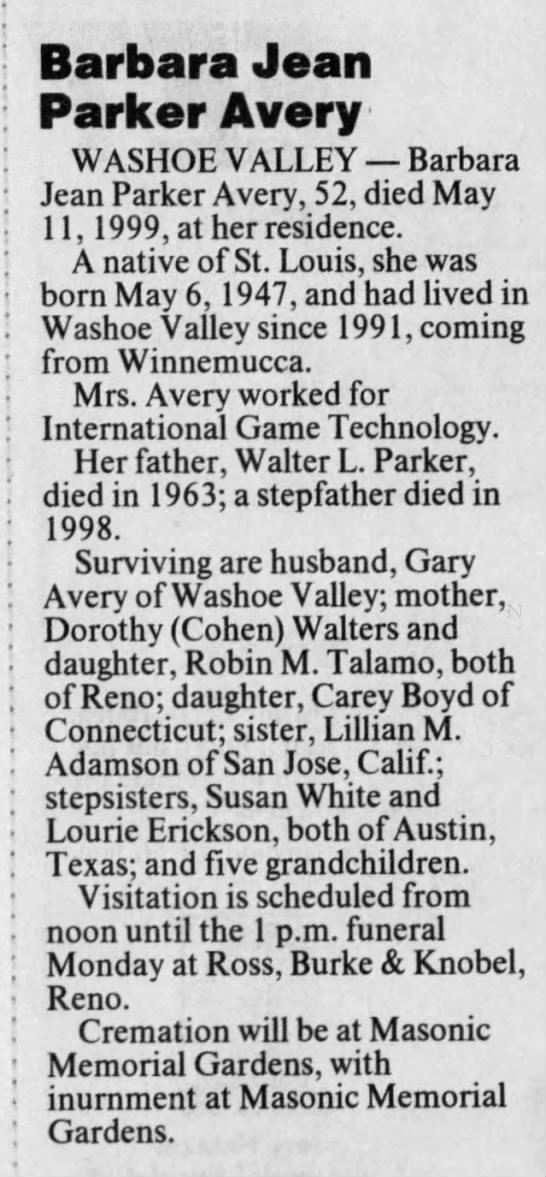 Parker_Barbara_Jean-1999_05_16-Obituary-Reno_Gazette_Journal-Reno_Nevada -
