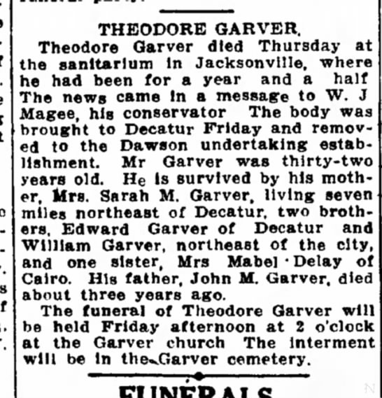 The Daily Review (Decatur, Illinois), 17 Feb 11, Fri - Theodore Garver -