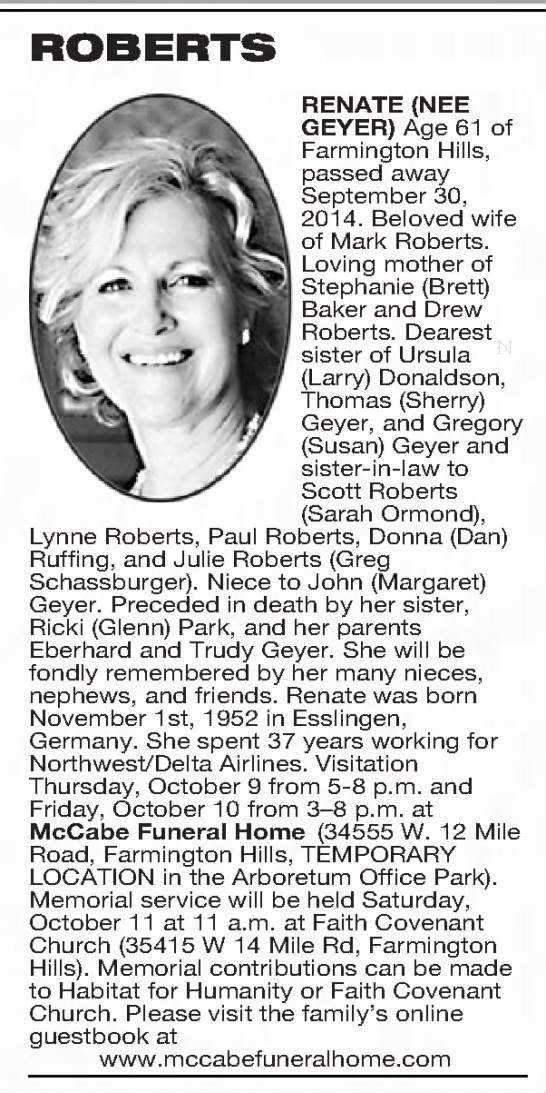 - ROBERTS RENATE (NEE GEYER) Age 61 of Farmington...