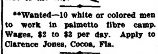 "THE WEEK""S DOINGS  white or colored men palmetto fibre camp $2-3/day -"