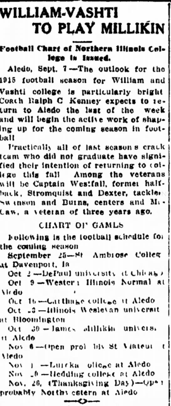 WV 1915 football schedule -