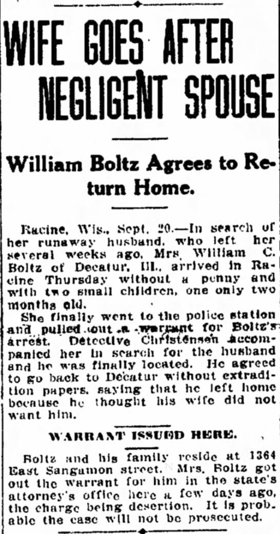 William Boltz Desertion Charges - Lcn- a t l y strong 111 to dren see Nebraska....