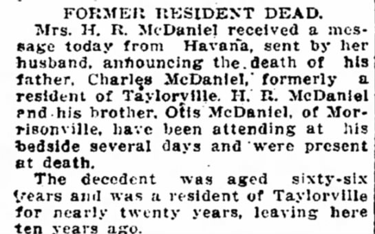 Death of Charles McDaniel -