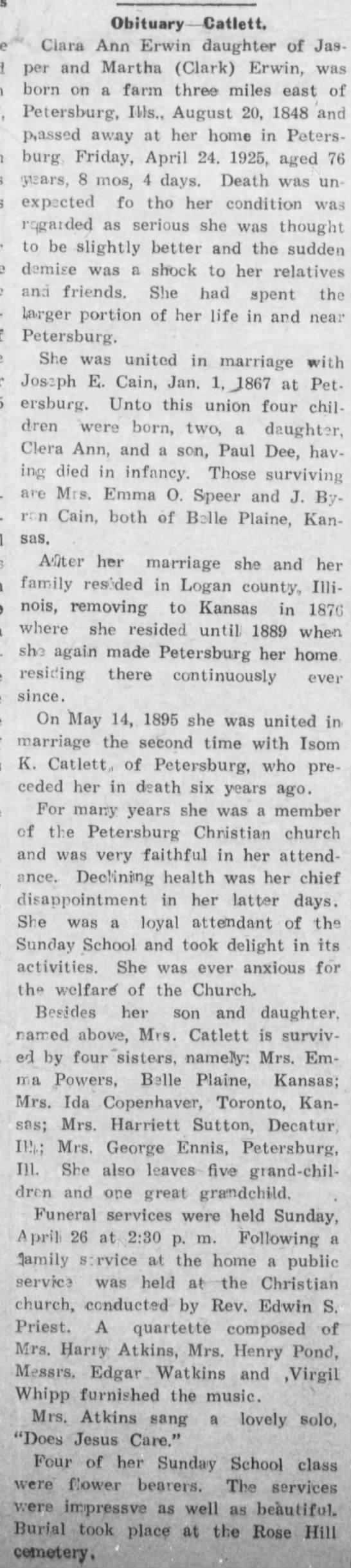 Clarissa Ann Erwin Cain CAtlett  obituary  Belle Plaine News