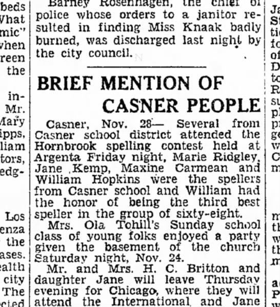 Marie Ridgley at Spelling Contest 28 Nov 1928 p2 -