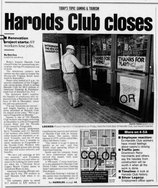 Harolds club closes -