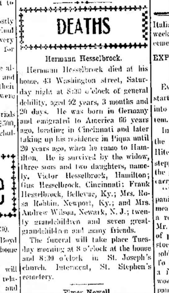 Herman Hesselbrock obit -
