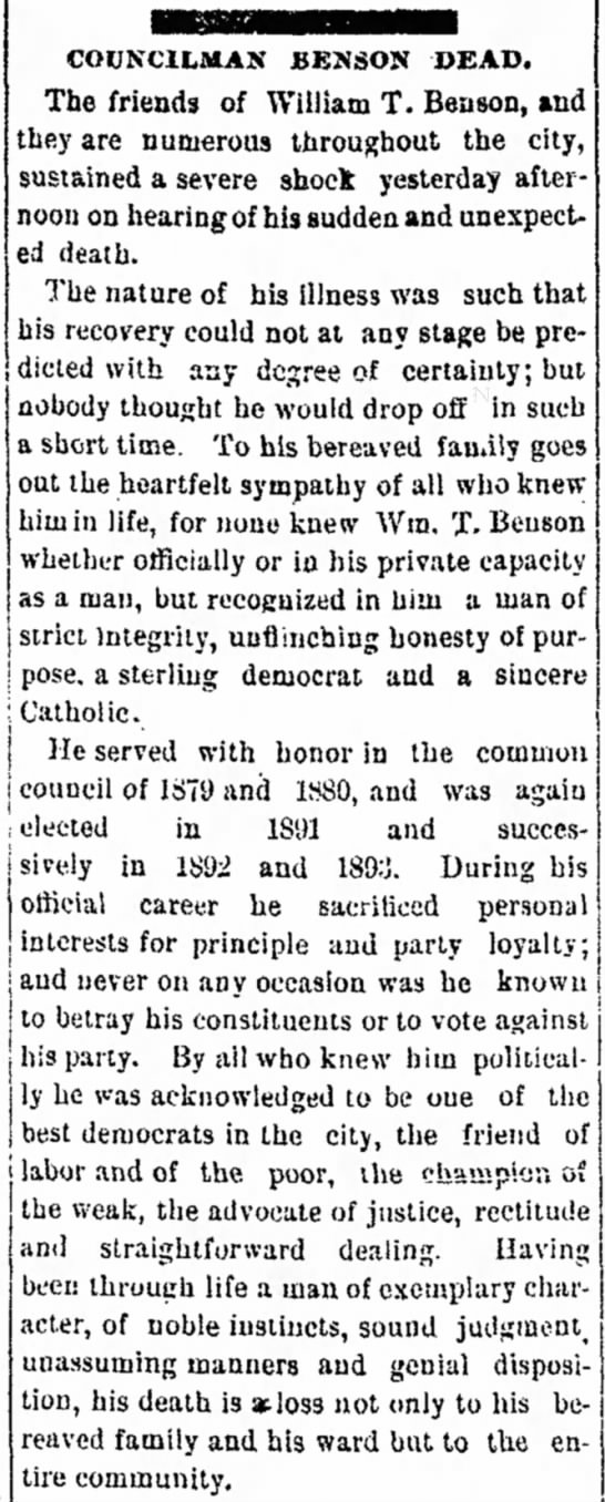 Benson, William T. d.Mon.05-21-1894 - Lowell Sun, Lowell, MA, Tuesday, May 22, 1894, pg. 2. -