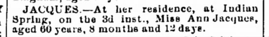 Ann Jacques death noticeThe Herald and Torch LightHagerstown, Maryland14 Sep 1881 -