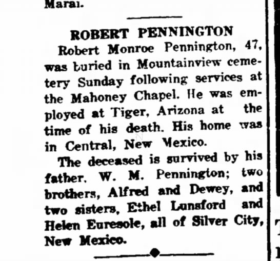 Robert Monroe Pennington obit April 1948 -