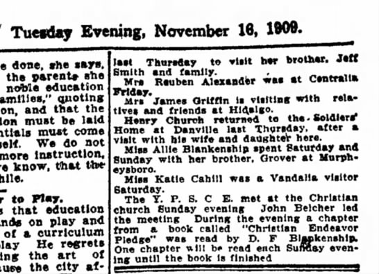 The Daily ReviewDecatur, Illinois16 November 1909, page 4 -