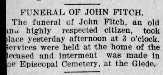 John Fitch funeral  notice -