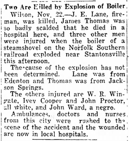 Death of Lillian Lane (incorrectly named in article as J. E. Lane) -