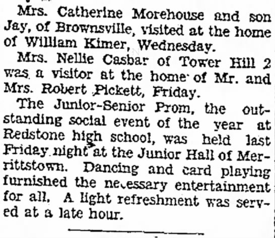 nellie casbar visitor of mrs robert pickett the evening standard may 17 1932 -