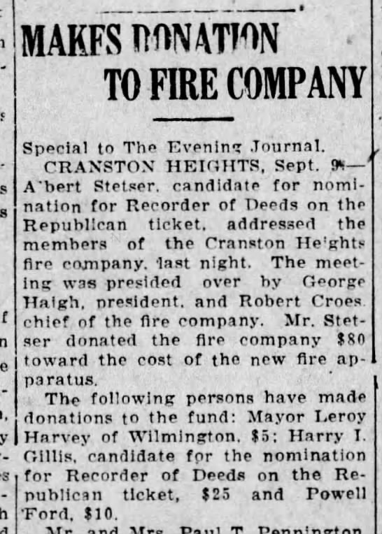 CHFCo. Receives donations from Candidates (9Sept1922) Evening Journal. -