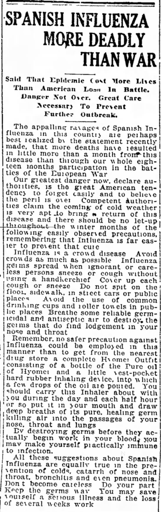 Spanish Influenza More Deadly Than War -