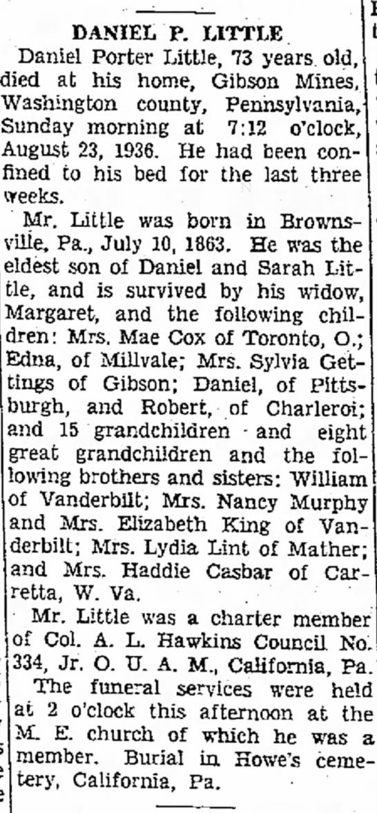 Daniel P. Little obit The Evening Standard Page 13 August 25 1936 -