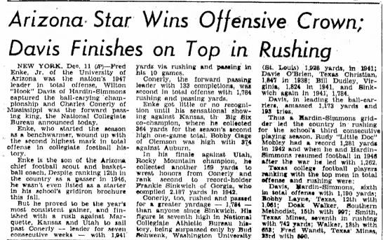 Arizona Star Wins Offensive Crown -