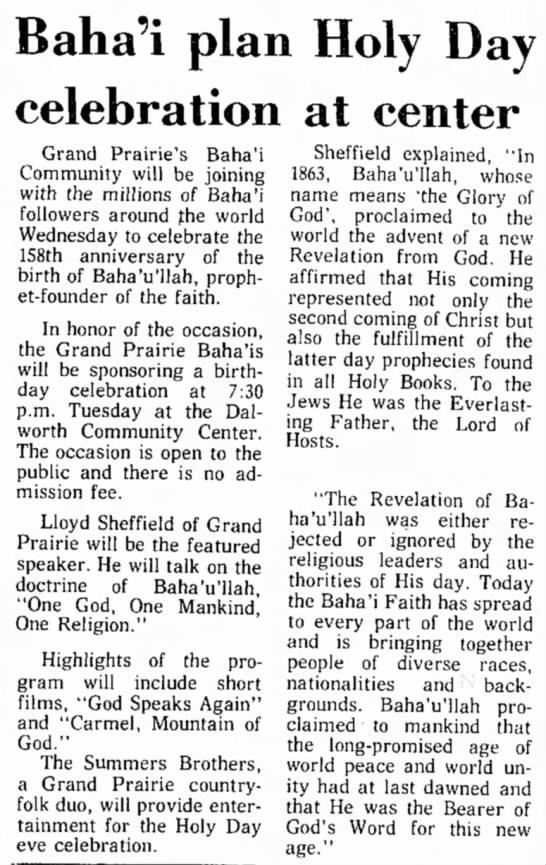 Baha'i meeting with speaker Lloyd Sheffield -