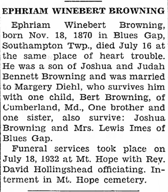 Obituary of Ephriam Winebert Browning -