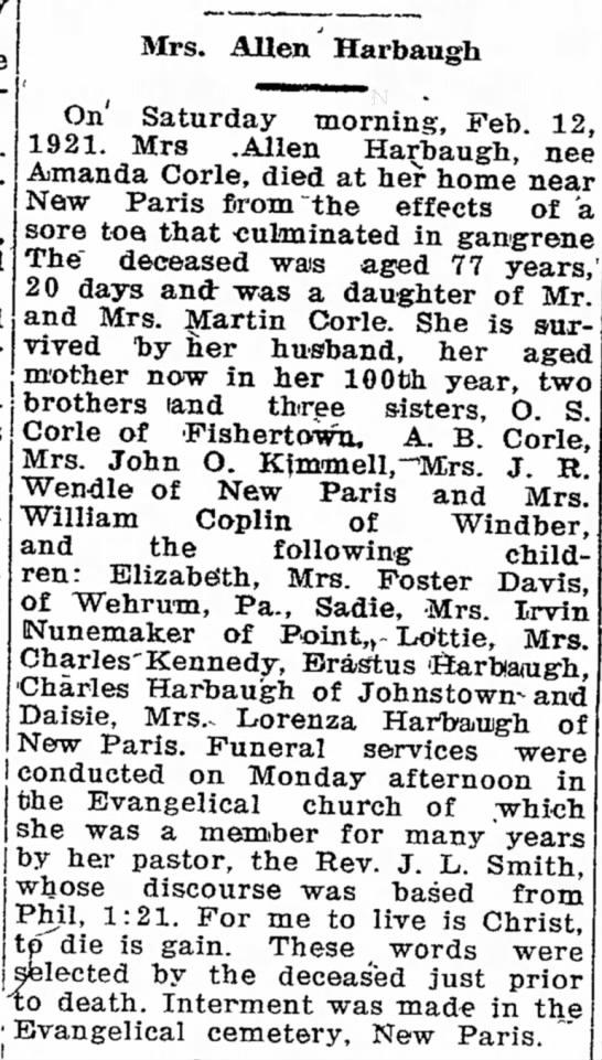 Amanda Corle HarbaughMrs. Allen Harbaugh Obituary18 Feb 1921 -