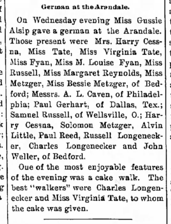 Alvin Little at the Arandale - and wife am Mrs and York at 11 a German at...