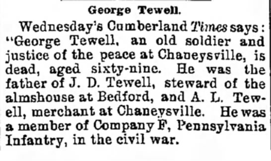 Obituary of George Tewell -