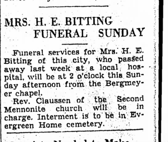 Mrs. H. E. Bitting funeral - 31 Jan 1943 -