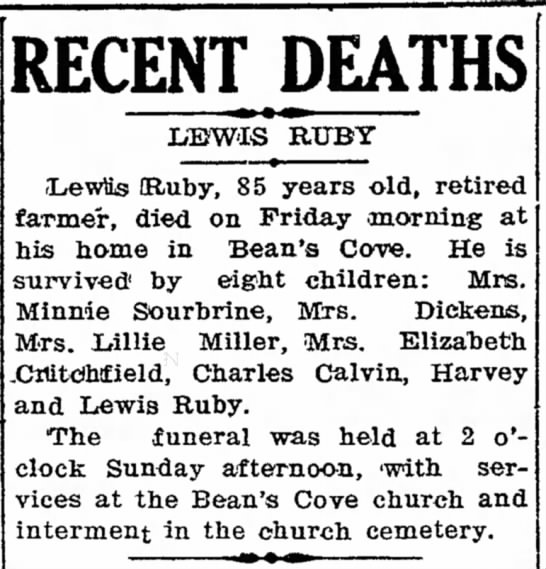 Obituary of Lewis Ruby, of Bean's Cove -
