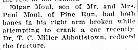 Edgar Moul breaks arm-Aug 1928 -