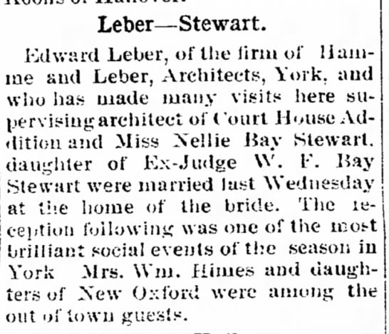 Edward Leber and Nellie Bay Stewart marriage -