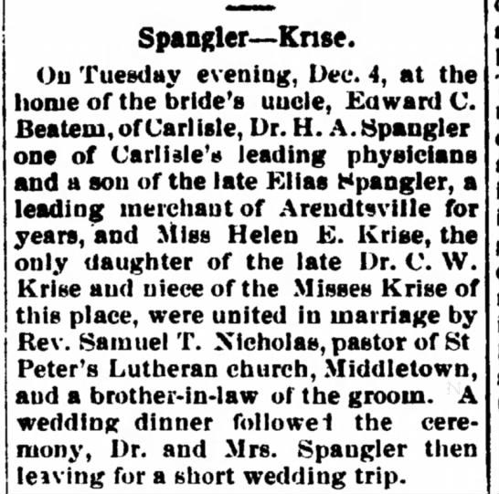 Spangler Krise wedding -
