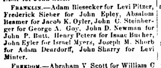 Adam Biesecker for Levi Pitzer draft substitutes 1862 - ' FBAXKLIX.--Adam Biesecker for Lev! Pitzcr,...