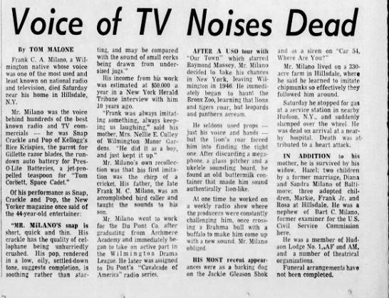 Death of Frank Milano -