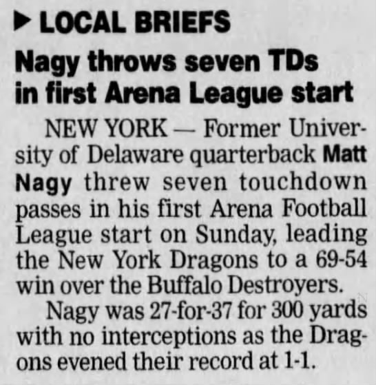 Nagy throws seven TDs in first Arena League start -