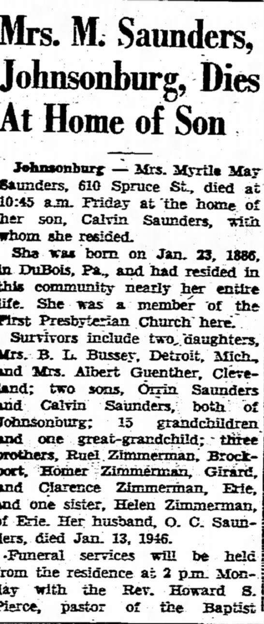 - Mrs. M. Saunders, J oh nsonburg, At Home of Son...