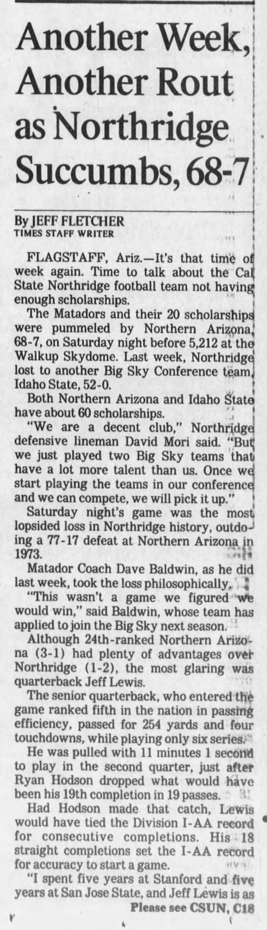 CSUN 19950924 Another Week Another Rout as Northridge Succumbs -